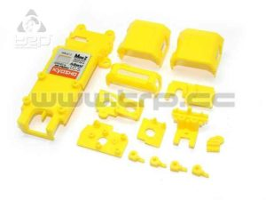 Kyosho Mini-Z MR015 partes pequeñas del chasis, color amarillo.