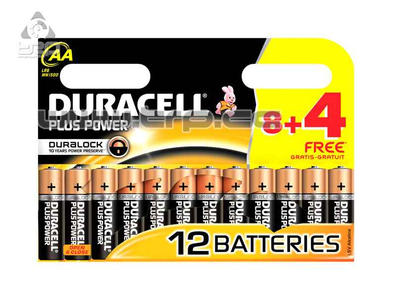 Pilas AA Duracell (12 unidades) Plus Power