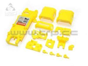 Kyosho Mini-Z MR015 partes pequeñas del chasis, color amarillo.