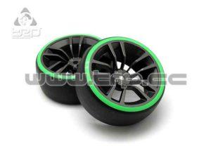 Llanta y neumático de drift 1:10 Anillo verde Offset 3 Camber 0